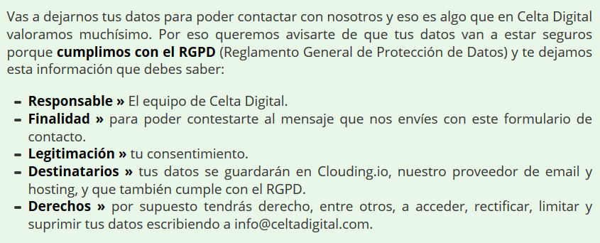 proteccion datos celta